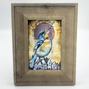 Morning Glory Singing Bird Framed Picture